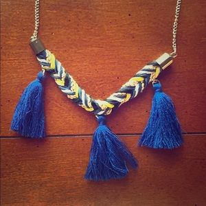 Jewelry - Blue and Yellow Fringe Necklace
